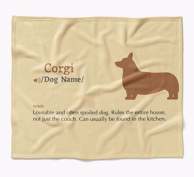 Personalized Definition Blanket with Corgi Silhouette