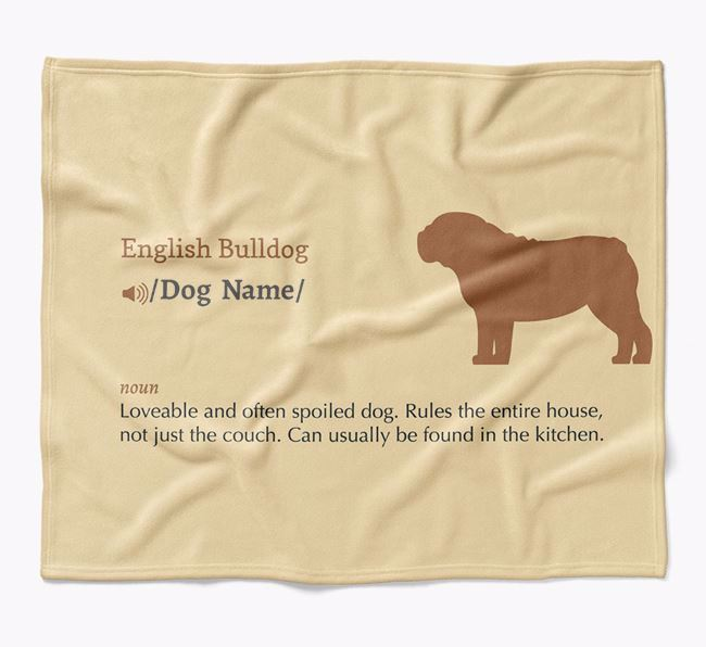 Personalized Definition Blanket with English Bulldog Silhouette