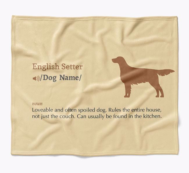 Personalized Definition Blanket with English Setter Silhouette