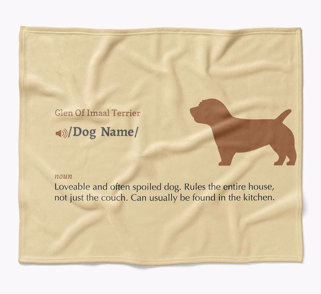 Personalized Definition Blanket with Glen Of Imaal Terrier Silhouette