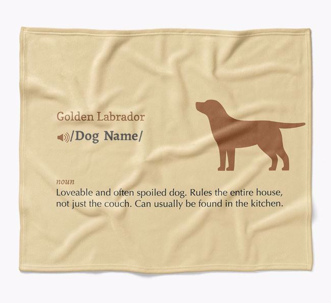 Personalized Definition Blanket with Golden Labrador Silhouette
