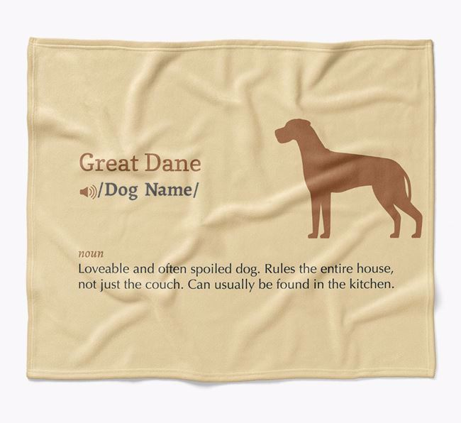 Personalized Definition Blanket with Great Dane Silhouette
