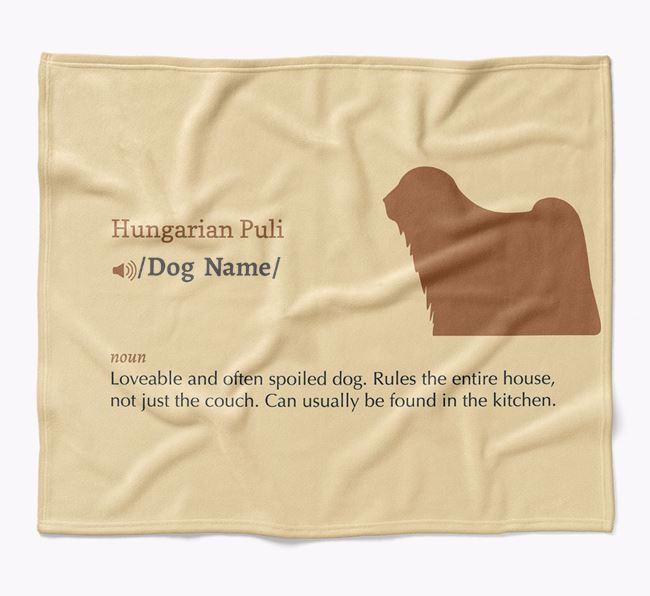 Personalized Definition Blanket with Hungarian Puli Silhouette