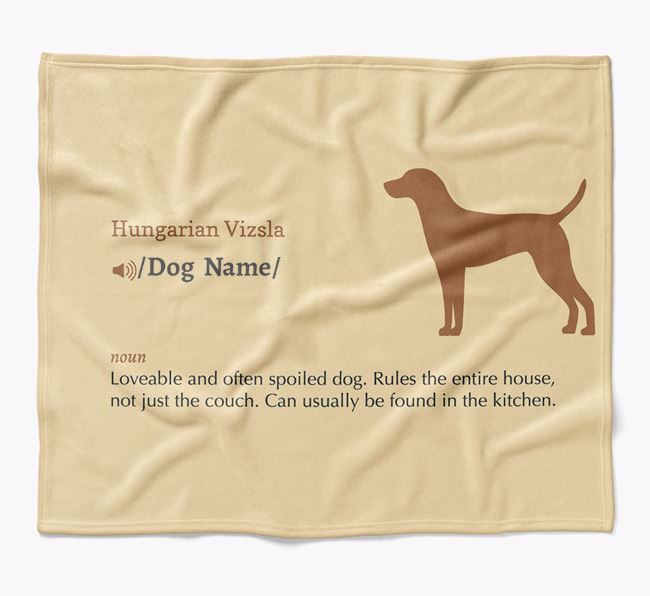 Personalized Definition Blanket with Hungarian Vizsla Silhouette
