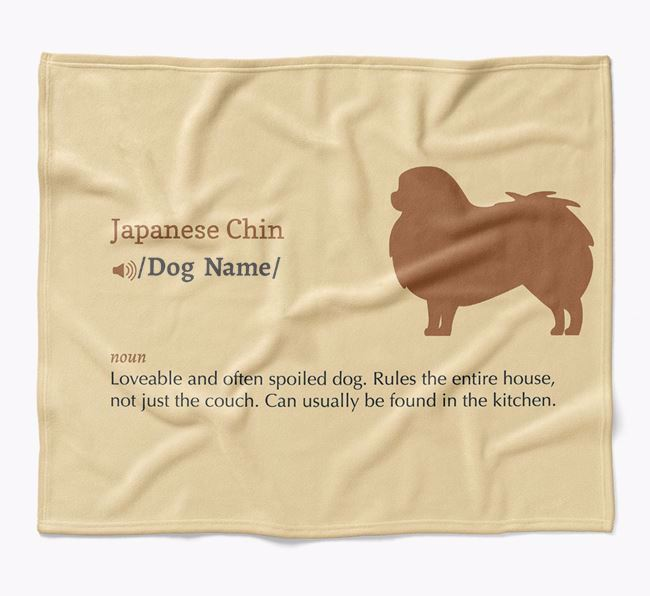 Personalized Definition Blanket with Japanese Chin Silhouette