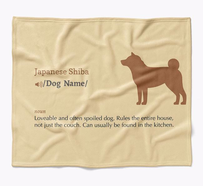 Personalized Definition Blanket with Japanese Shiba Silhouette