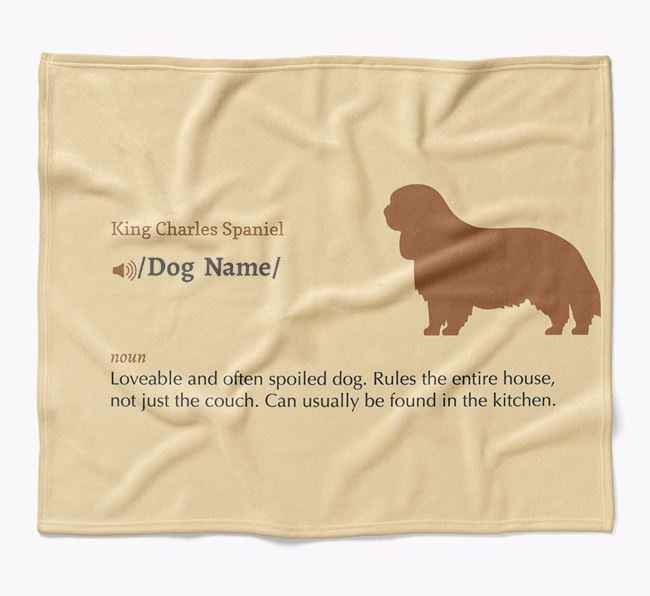 Personalized Definition Blanket with King Charles Spaniel Silhouette