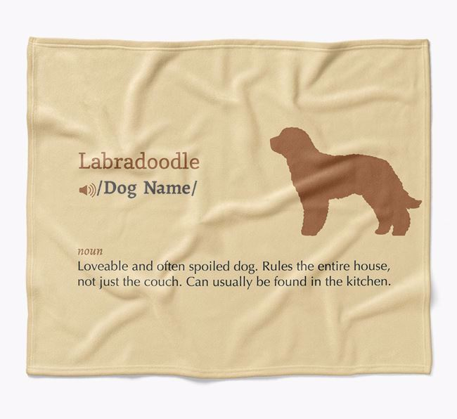 Personalized Definition Blanket with Labradoodle Silhouette