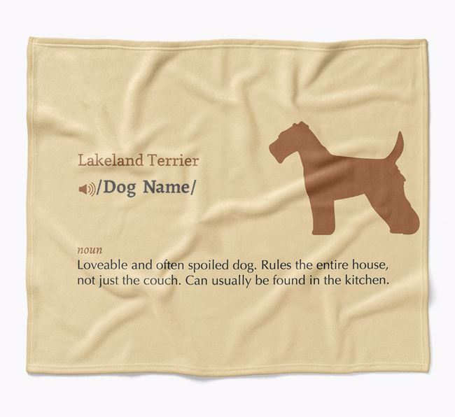 Personalized Definition Blanket with Lakeland Terrier Silhouette