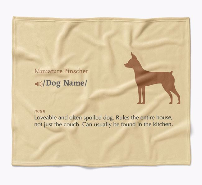 Personalized Definition Blanket with Miniature Pinscher Silhouette