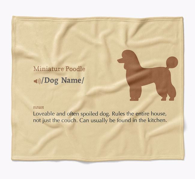 Personalized Definition Blanket with Miniature Poodle Silhouette