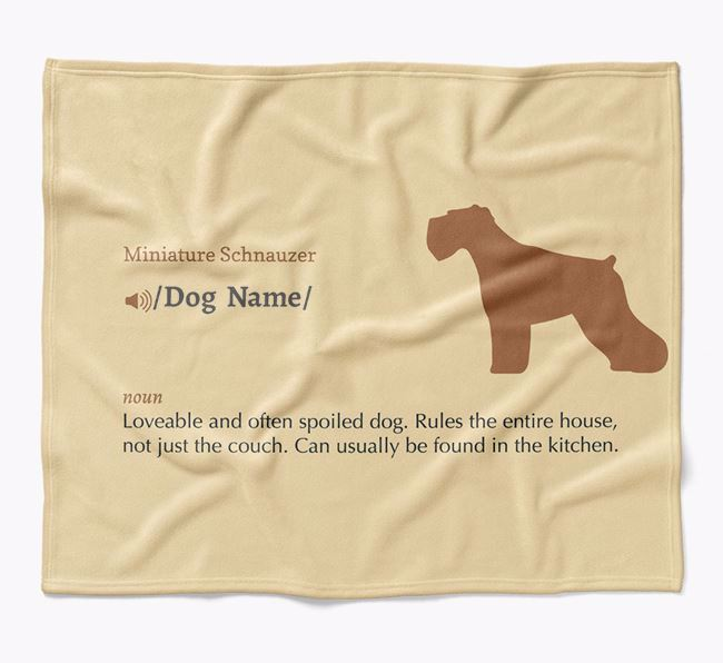 Personalized Definition Blanket with Miniature Schnauzer Silhouette