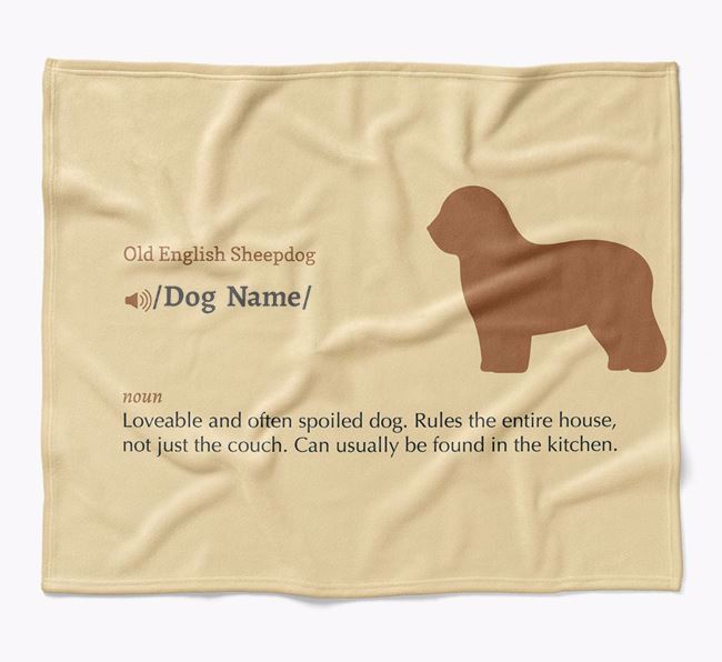 Personalized Definition Blanket with Old English Sheepdog Silhouette