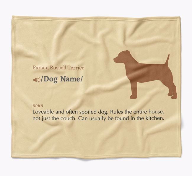 Personalized Definition Blanket with Parson Russell Terrier Silhouette