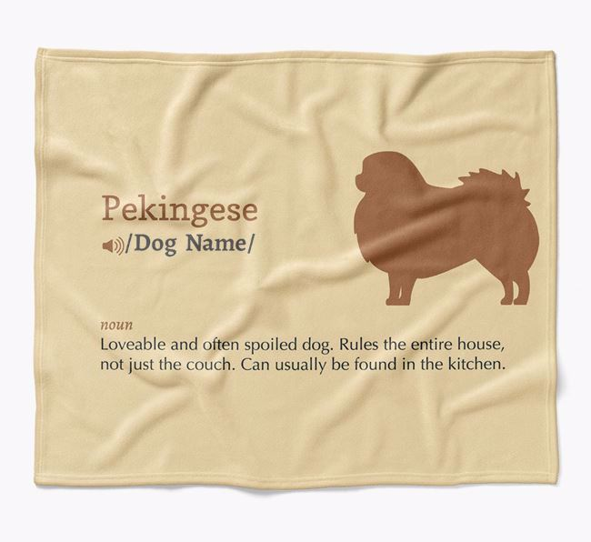 Personalized Definition Blanket with Pekingese Silhouette