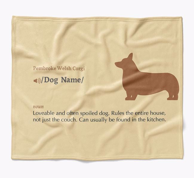 Personalized Definition Blanket with Pembroke Welsh Corgi Silhouette