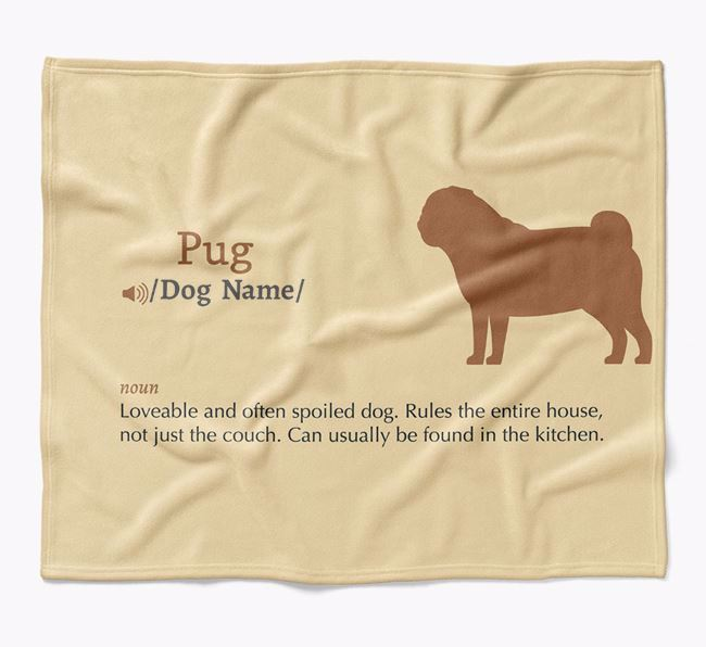 Personalized Definition Blanket with Pug Silhouette