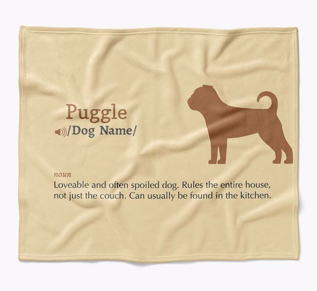 Personalized Definition Blanket with Puggle Silhouette