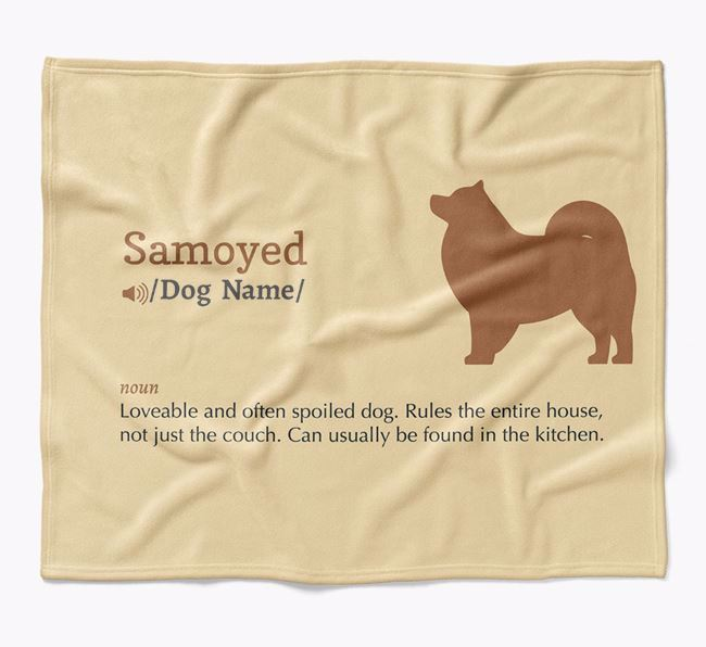 Personalized Definition Blanket with Samoyed Silhouette