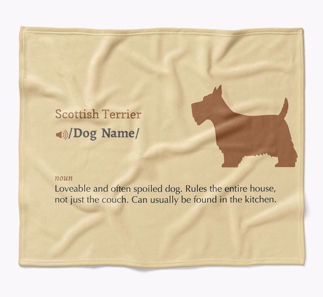 Personalized Definition Blanket with Scottish Terrier Silhouette