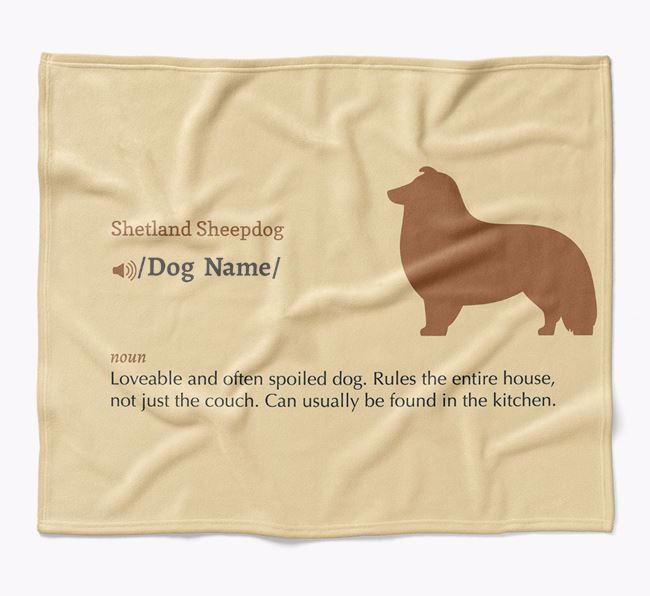 Personalized Definition Blanket with Shetland Sheepdog Silhouette