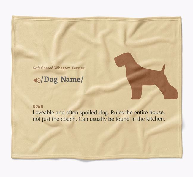 Personalized Definition Blanket with Soft Coated Wheaten Terrier Silhouette