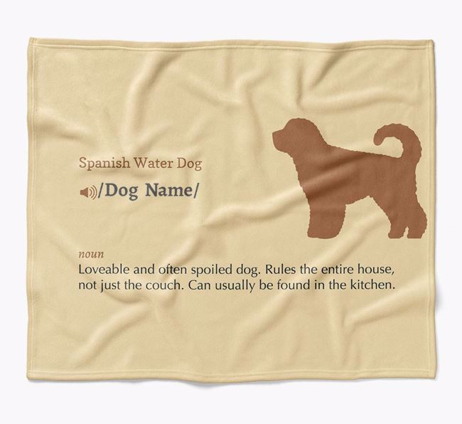 Personalized Definition Blanket with Spanish Water Dog Silhouette