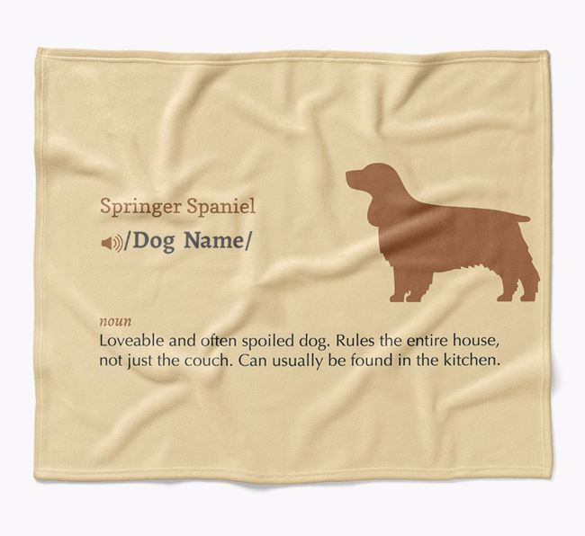 Personalized Definition Blanket with Springer Spaniel Silhouette