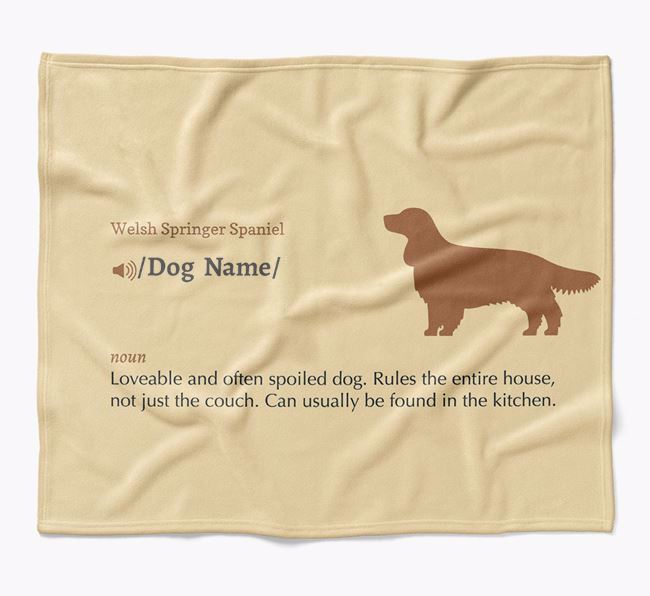 Personalized Definition Blanket with Welsh Springer Spaniel Silhouette