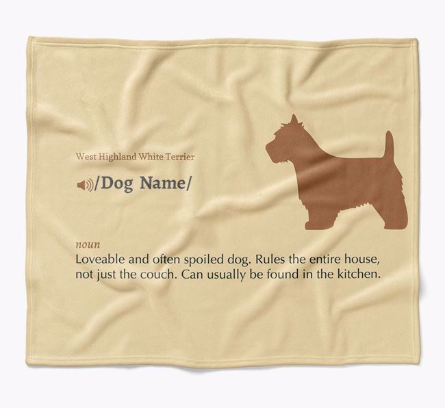 Personalized Definition Blanket with West Highland White Terrier Silhouette