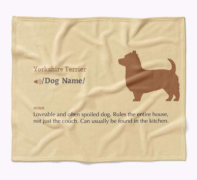 Personalized Definition Blanket with Yorkshire Terrier Silhouette