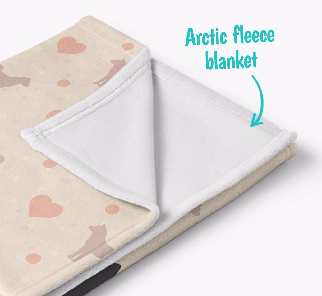 Personalized Hearts Blanket with Akita Silhouettes corner detail