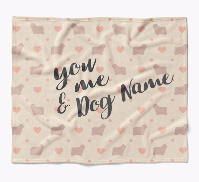 Personalized Hearts Blanket with Bergamasco Silhouettes