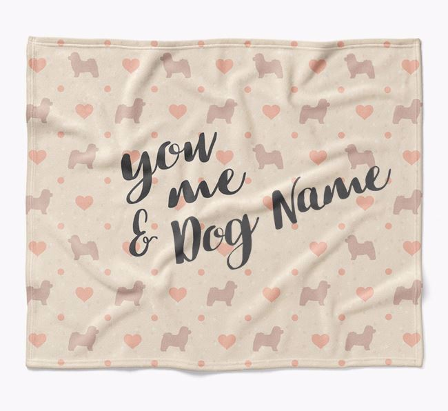 Personalized Hearts Blanket with Bolognese Silhouettes