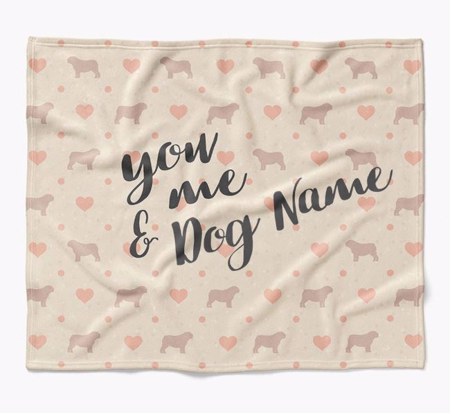 Personalized Hearts Blanket with Bull Pei Silhouettes