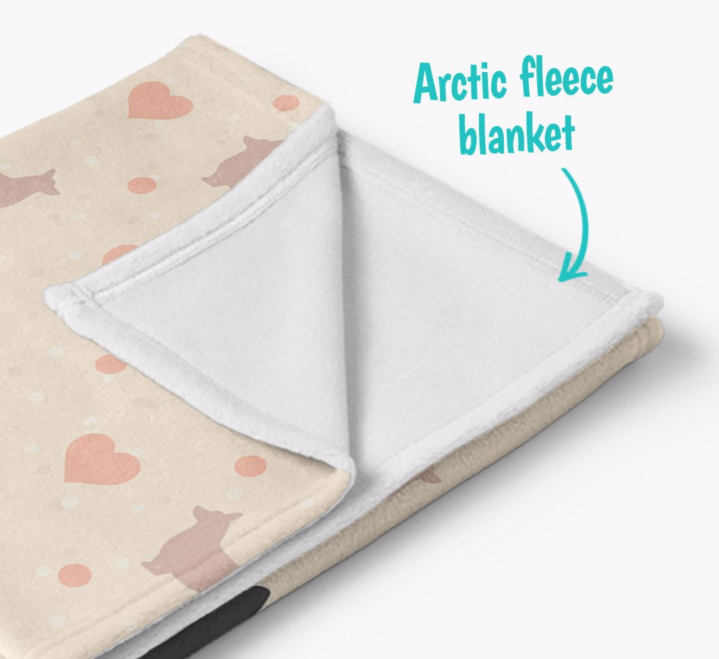 Personalized Hearts Blanket with Corgi Silhouettes corner detail