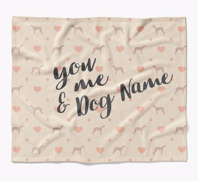 Personalized Hearts Blanket with Dog Silhouettes