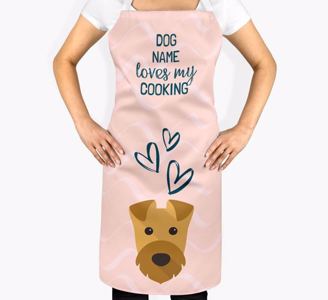 'Your Dog Loves My Cooking' Apron with Airedale Terrier Icon