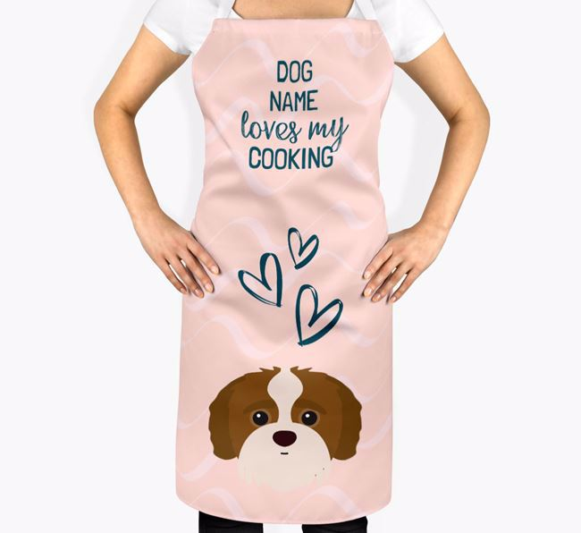 'Your Dog Loves My Cooking' Apron with Jack-A-Poo Icon
