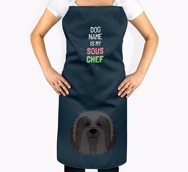 'Your Dog is my Sous Chef' Apron with Bearded Collie Icon