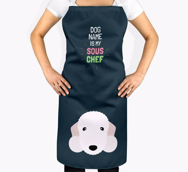 'Your Dog is my Sous Chef' Apron with Bedlington Terrier Icon