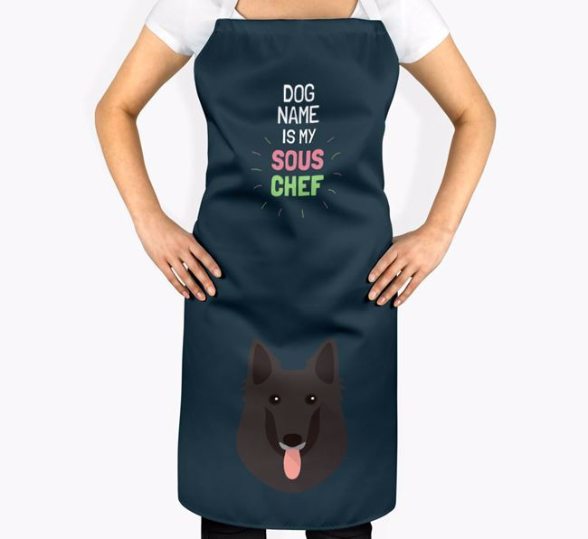 'Your Dog is my Sous Chef' Apron with Belgian Groenendael Icon