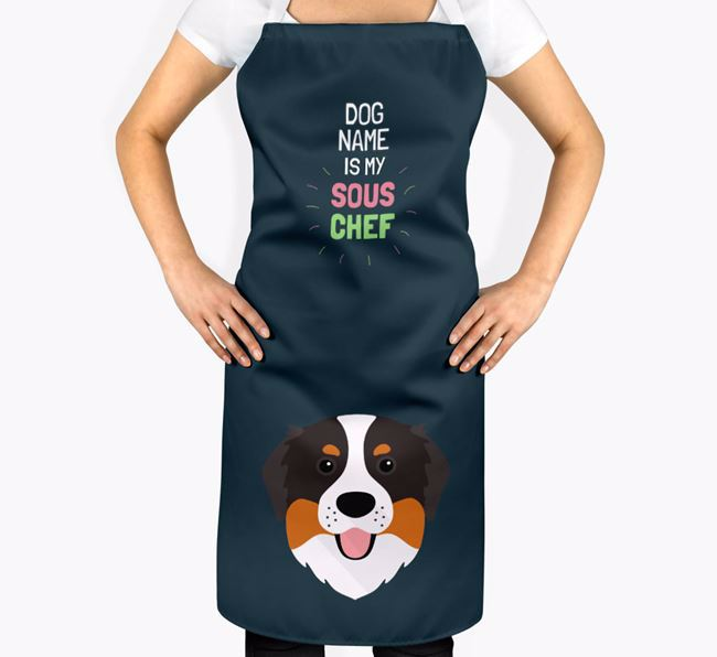 'Your Dog is my Sous Chef' Apron with Bernese Mountain Dog Icon