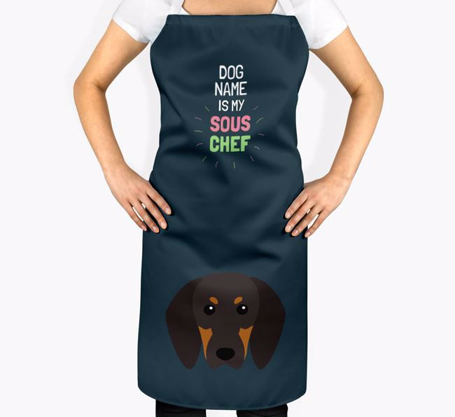 'Your Dog is my Sous Chef' Apron with Black and Tan Coonhound Icon