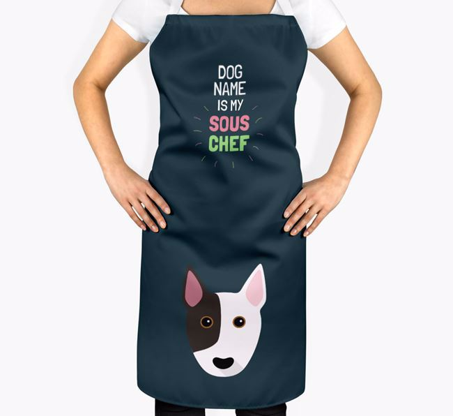 'Your Dog is my Sous Chef' Apron with Bull Terrier Icon