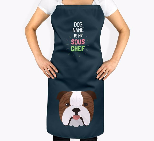 'Your Dog is my Sous Chef' Apron with English Bulldog Icon