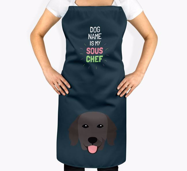 'Your Dog is my Sous Chef' Apron with Flat-Coated Retriever Icon