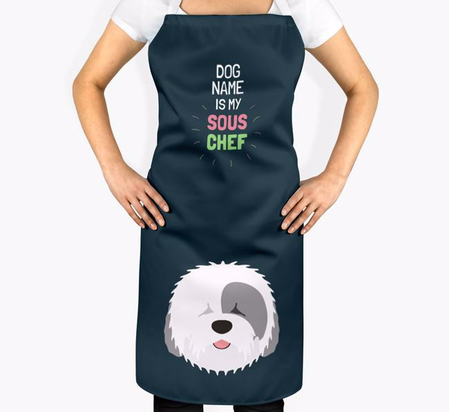 'Your Dog is my Sous Chef' Apron with Old English Sheepdog Icon