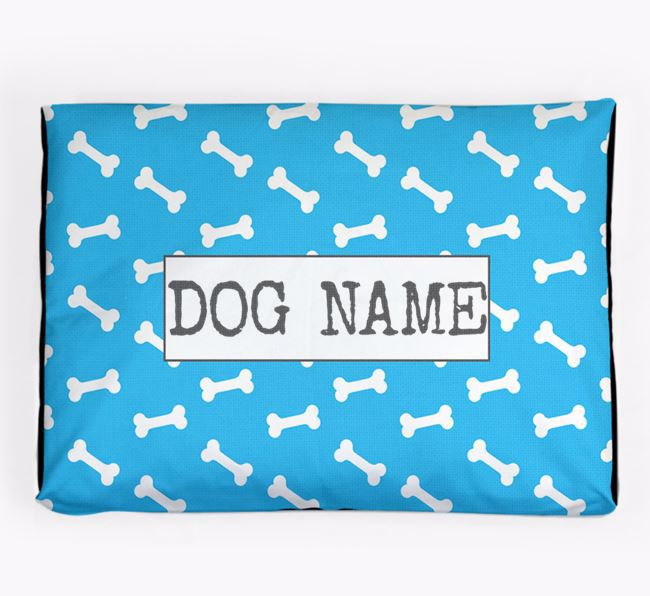 Personalised Dog Bed with Bone Pattern for your Frenchie Staff