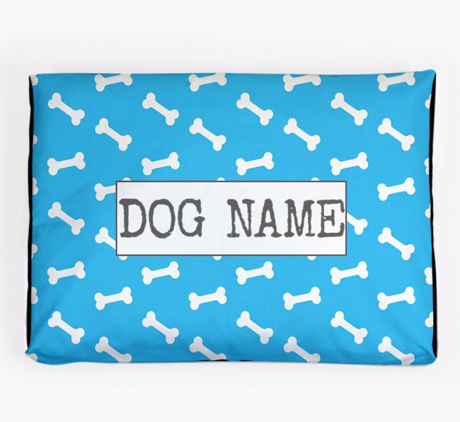 Personalised Dog Bed with Bone Pattern for your White Swiss Shepherd Dog